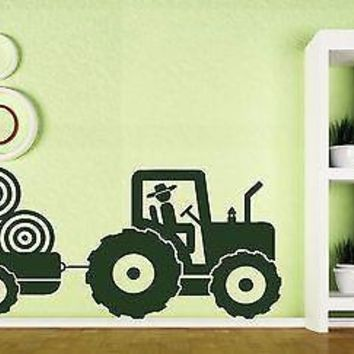 Vinyl Decal Wall Sticker Kid's Tractor Trailer Farm Boy's Room Decoration Unique Gift (n180)