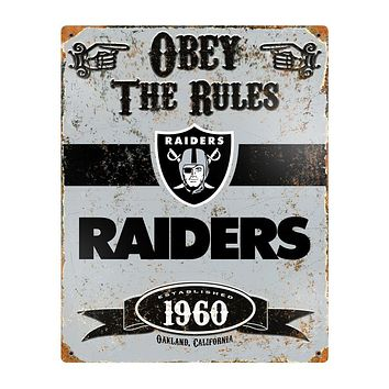 Oakland Raiders Obey the Rules 14x11 Vintage Steel Pub Sign