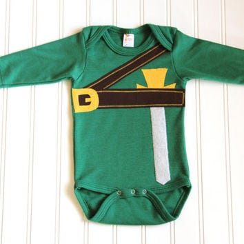 Baby Link Onesuit, Long Sleeve Onesuit, Link Halloween Costume, Baby Geekery, Video Game Onesuit
