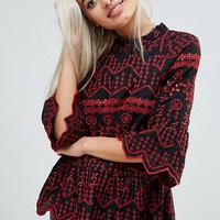 River Island Petite Cutwork Embroidered Top at asos.com