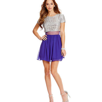 B. Darlin Sequin To Mesh Faux Two-Piece Dress | Dillards