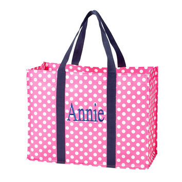 Shopping Tote -- Pink/Navy
