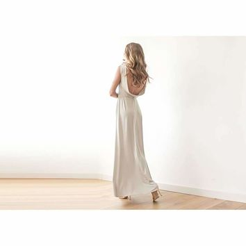 Backless champagne maxi dress