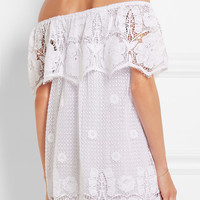 Miguelina - Angelique off-the-shoulder crocheted cotton mini dress