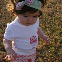 Reversible Pink Light Green Polka Dot Headband for Girls/ Top Knot Headband for Baby/Toddler/Child/Adult