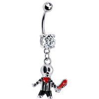 Scary Bloody Chainsaw Belly Ring
