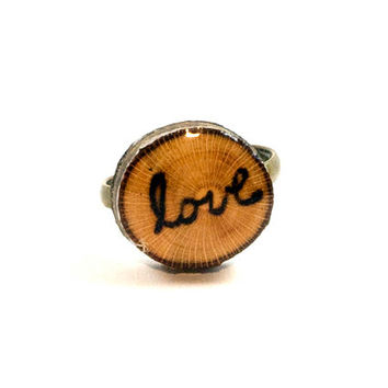 Love Script Ring, Love Ring, Wood Slice Ring, Valentine's Ring, Wooden Ring, Cute Valentines Gift, Wood Burned Ring, Cursive Love Ring