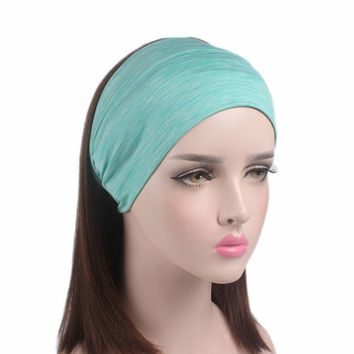 Haimeikang Wide Cent Knot Bow Turban Headband Round Knot Wide Elastic Hair Bands Bandana Headwrap Bandage Headwear