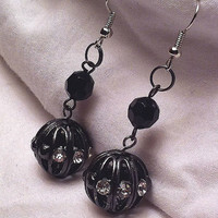 Gunmetal rhinestone and studded cage earrings for mothers day