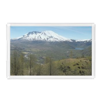Mount St Helens Volcanic Landscape Photo Serving Tray