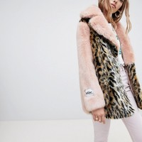 Jakke mid length faux fur coat in contrast leopard at asos.com