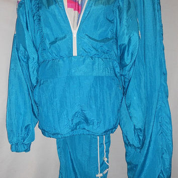 Vintage 80s Geometric Windbreaker Sweat Jogging Suit Set Combo Blue Pink Purple Neon Bright Confetti Print