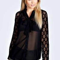Amelia Lace Sleeve Sheer Pussybow Blouse