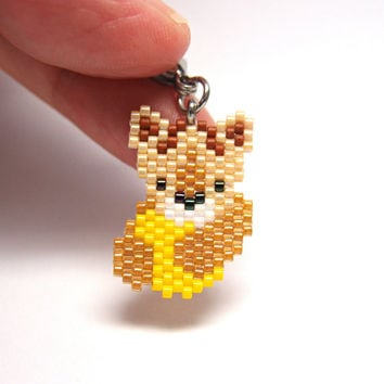 Lion Cub with Yellow Ball, Bag / Keychain / Planner Charm, Seed Bead Accessory
