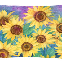 Sunflowers and Purple Fabric Decorative Pillow IBD0247PW1216