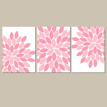 PINK NURSERY Wall Art CANVAS or Prints Flower Burst Baby Girl Nursery Wall Art Girl Bedroom Pictures Girl Wall Art Set of 3 Baby Crib Decor