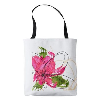 Blush Pink Olive Painted Daisy Tote Bag