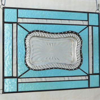 Stained Glass Panel Crystal Suncatcher Recycled Vintage Trinket Plate