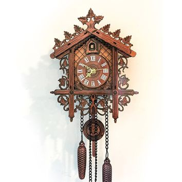 1pc Retro Vintage Wall Clock Hanging Handcraft Wooden Clock House Style Wall Clocks for Living Room Home Decoration