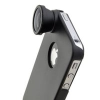 180 Fisheye Fish Eye Detachable Lens with Back Cover Case For iPhone 4 4S 4G