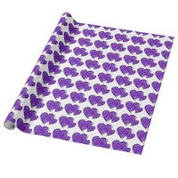 purple watercolor hearts wrapping paper