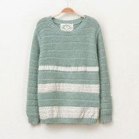 Green Patch Letters Splicing Striped Loose Sweater