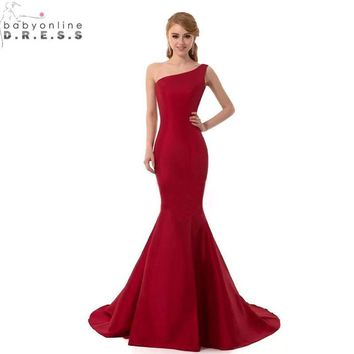 Cheap Real Image One Shoulder Mermaid Burgundy Black Purple Bridesmaid Dresses Long 2017 Robe Demoiselle D'honneur Formal Dress