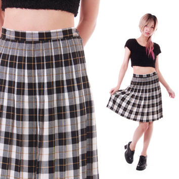 90s Vintage High Waist Pleated Skirt Black White Gold Tartan Preppy Goth Schoolgirl Lolita Clothing Womens Size XS Small