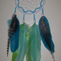 """4"""" white, greens and blues dream catcher"""