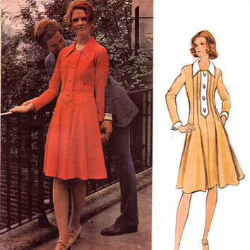 Jean Muir Fit and Flare Shirt Dress 1970s Vogue Couturier Design 2663 Vintage Sewing Pattern Size 12 Bust 34 UNCUT FF
