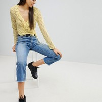 Missguided Polka Dot Tie Side Blouse at asos.com