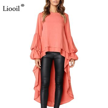 Liooil Puff Sleeve Maxi Dress Women Clothes Winter O Neck Asymmetrical High Low Hem Womens Sexy Long Party Dresses