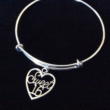 Sweet 16 Expandable Charm Bracelet Adjustable Bangle Gift Happy Birthday