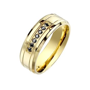Lucky Sevens - Men's 7 Black CZ Stone Stainless Steel Gold IP Ring with Beveled Edges