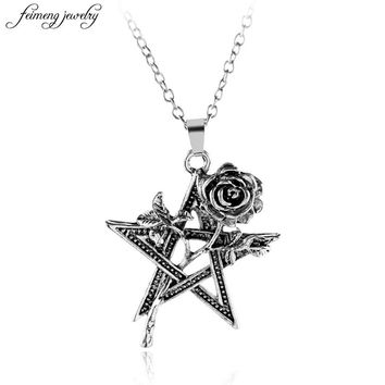 Euramerican retro pentagram black rose pendant necklace rose flower necklace for women's clothing jewelry accessories 2017 New