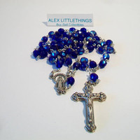 Royal Blue Rosary Beads Iridescent Faceted Glass Beads Religious Catholicism Christianity