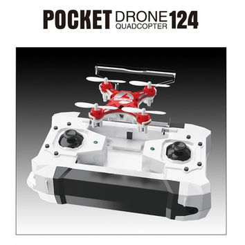 RC Drone Dron 2.4G 4CH 6-Axis Gyro RTF Pocket Headless Mode Quadcopter Aircraft Toy FQ777 - 124 Drones Copters Kids Xmas Gifts