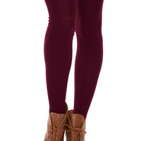 Amadee Thigh High Socks - Burgundy