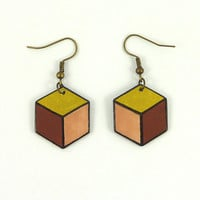 Geometric CD recycled Earrings : Golden, beige, bown and black hexagon - by Savousepate