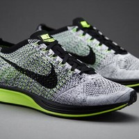 """Nike Flyknit Racer"" Unisex Sport Casual Fly Knit Multicolor Sneakers Couple Running Shoes"