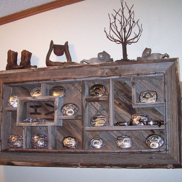 Belt Buckle Display Shelves Shadowbox Made From Reclaimed Rustic Barn Wood, Western Decor