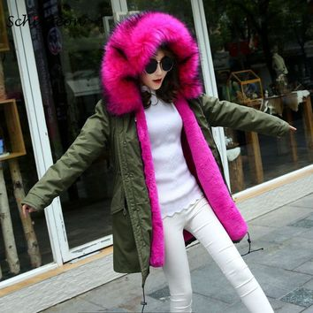 Trendy Schinteon Fur Winter Long Jacket Warm Outwear Faux Big Raccoon Fur Collar Removable Artifical Inside Rabbit Fur Lining Women AT_94_13