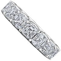 Extraordinary Asscher Cut Diamond Platinum Eternity Band