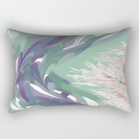 Deep Ocean River Abstract In Soft Green and Purple Rectangular Pillow by Jen Warmuth Art And Design