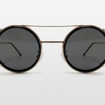Sonic Clip Off Sunglasses by Spitfire - Black Lens with Silver Frame