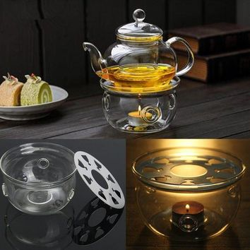DCCKFS2 Round Heating Base Coffee Water Scented Teapot Trivet Candle Clear Glass Heat-Resisting Tea Warmer Insulation Base Candle Holder