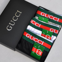 GUCCI New fashion men letter stripe bee embroidery underwear four-corner briefs three color