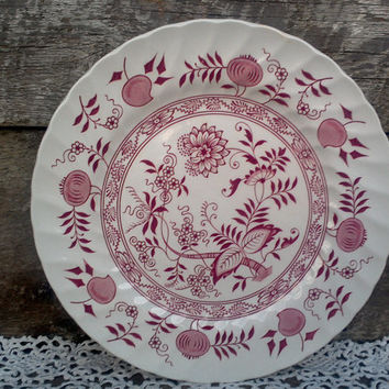 "Ironstone Red Transferware OLD VIENNA ""Pink Onion"" by Enoch Woods and Sons  Burslem England, 10"" Dinner Plate, Serving"