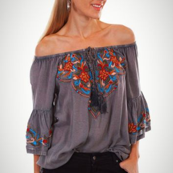 Honey Creek by Scully Peasant Top with Roped Tie