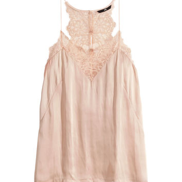 H&M - Satin Top with Lace - Powder pink - Ladies